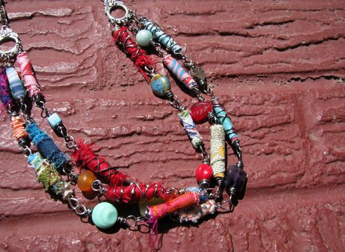 Fabric bead necklace1, sm